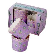 Cake cups vintage flowers lila Rice