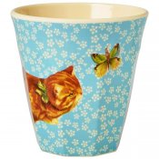 Mugg cat print & flowers turkos Rice