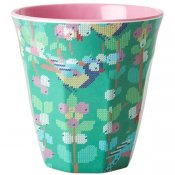 Mugg cross stitched bird print Rice